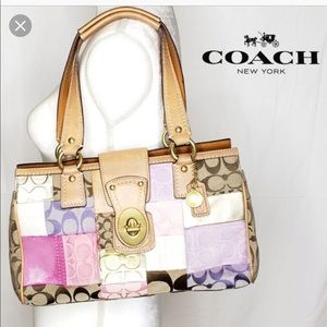 Vintage pink and tan  coach patch satchel